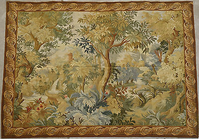 5.25' x 6.6' Hand Woven Authentic French Aubusson Tapestry 18th C Village
