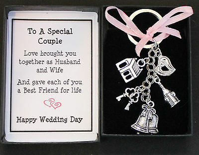 Wedding Day Gift Keyring Keepsake,  For Bride And Groom Boxed With Message