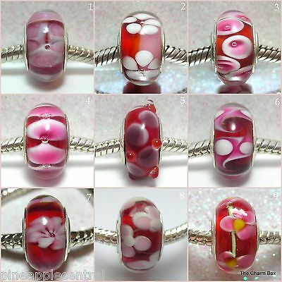 'ROSEY REDS'-1 X Red with Pink/White Murano Glass European Charm Bead-S'gle Core