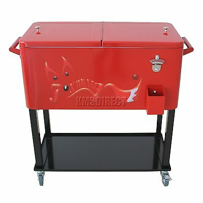 FoxHunter Patio Deck Ice Cooler Rolling Cart Outdoor 65 Quart Red Home Party New