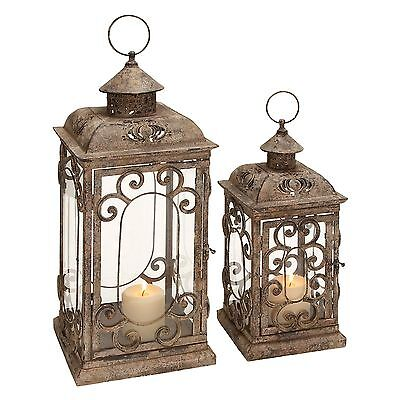 Deco 79 Scrollwork Caging Candle Holder Metal Glass Lantern Set of Two 52949 New
