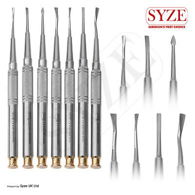 Dental 10mm PDL Luxating Root Elevators + Solid Handle + Micro Serrated Tips CE