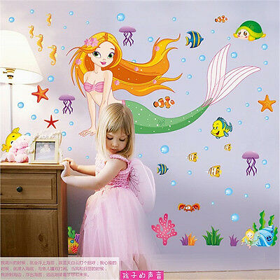 Cartoon The Little Mermaid Wall Art Stickers Kids Nursery Decoration Decal Mural