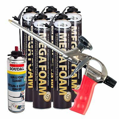 Expanding Foam Kit PU Polyurethane Professional Gun 5 x Cans 1 x Cleaner Kit 3