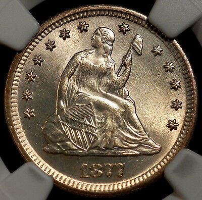 1877 Silver Liberty Seated Quarter 25c NGC MS63