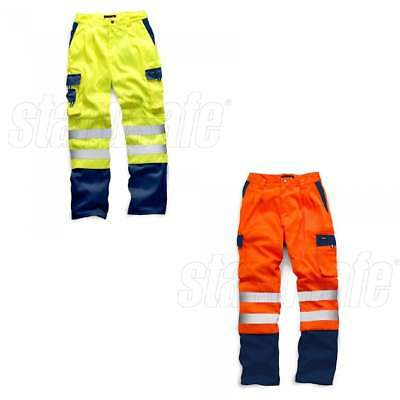 Hi Viz Two Tone Polycotton Cargo Trousers Work Combat Vis Visibility Pants GO/RT