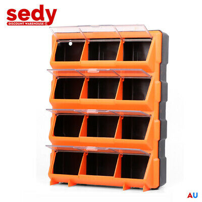 New 12 Bins Storage Cabinet Tool Box Chest Case Plastic Organizer Toolbox Bin