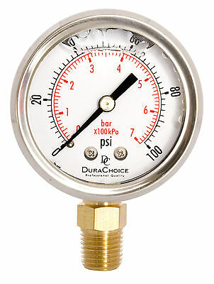 "2"" Oil Filled Pressure Gauge - SS/Br 1/4"" NPT Lower Mount 100PSI"