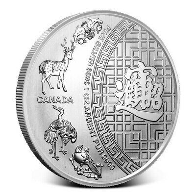 2016 Canadian Five Blessings 1 oz .9999 Silver BU Round Bullion Coin - $5 FV