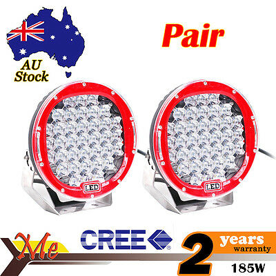 2PCS Red 9 inch 185W Cree Led Spot work light For Car Offroad Truck  96w/225w