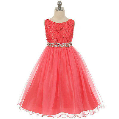 Kids Girl Flower Sequins Princess Occasion Wedding Party Pageant Communion Dress