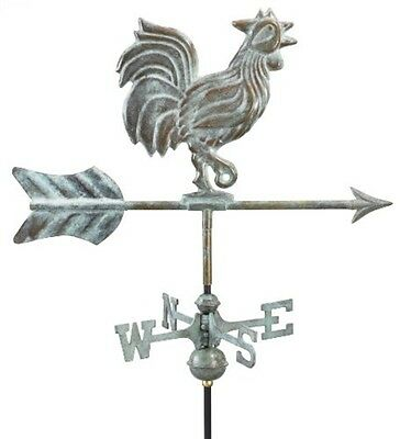 Good Directions Rooster Garden Weathervane - Blue Verde Copper w/Garden Pole NEW