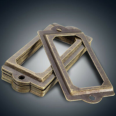 12Pcs Antique Brass Drawer Label Pull Cabinet Frame Handle Name Card Holder #4