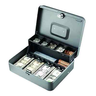 STEELMASTER Tiered Cantilever Cash Box Money Drawer Key Locking Safe Lock Gray