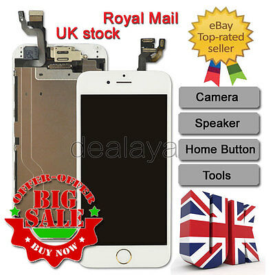 For iPhone 6 Replacement Digitizer Touch Screen White Gold Home Button Camera