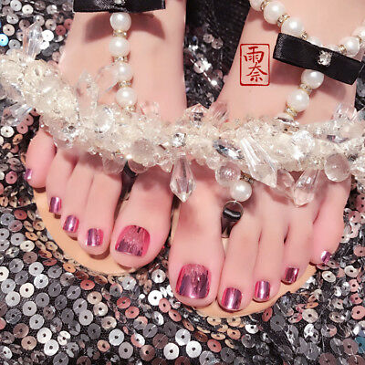 【Buy 2 Get 1 Free】New 24PCS Candy Color French Short False ToeNails Tips Sticker