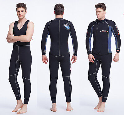 5mm Mens 2-Piece Set Sleeveless Wetsuit Diving Suit Watersports Surfing Sailing