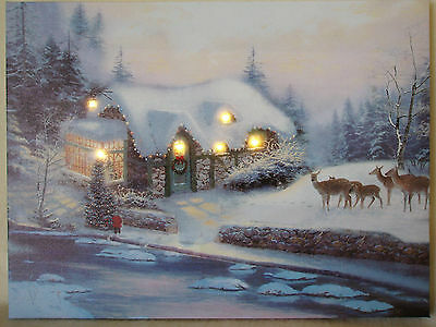 """LED Christmas """"Snow House"""" Light-up Canvas Picture"""