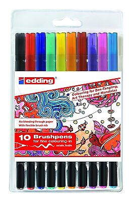10 Edding Brushpen 1340 Tangle Brushpen Set sortiert Pinselstifte Fasermaler 000