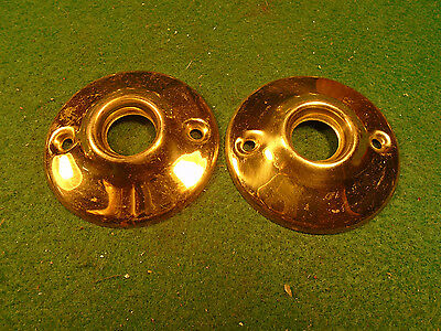 "Matched Pair Large Escutcheons - 2"" Diameter, 1/2"" Centers!  Very Nice (1400-7)"