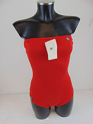 Vintage 80 BENNING Body Top Costume Intero 46 L XL Rosso Tennis