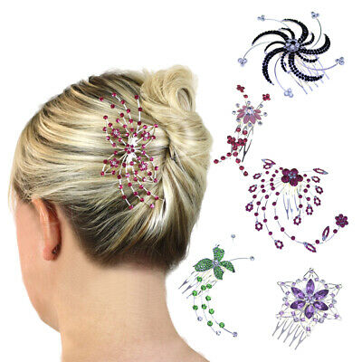 Hair Combs Bridesmaid Accessories Crystal Slides Clips Head Pieces Girls Prom UK