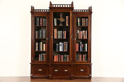 Victorian Eastlake 1880's Antique Walnut Triple Library Bookcase