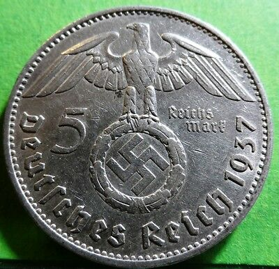 N4 German 2 Reichsmark 1937-1939 Silver coin with Eagle /& Swastika