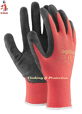 24 Pairs Of New Red Latex Coated Nylon Work Gloves Safety Garden Grip Builders