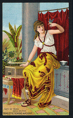 GRECIAN ROMAN Style Woman with Bird DOMESTIC SEWING MACHINE Trade Card 1880's