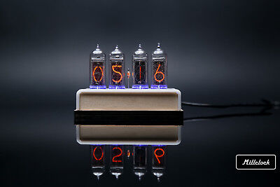 IN-14 NIXIE TUBE CLOCK ASSEMBLED WOOD ENCLOSURE AND ADAPTER 4-tubes by MILLCLOCK