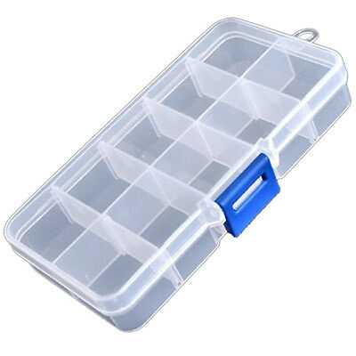 Clear Compartments False Nail Art Tips Storage Box Case AD