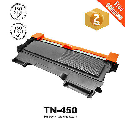 2 Non-Oem Tn450 Toner Cartridge For Brother Hl-2240 Hl-2275 Dcp-7065 Mfc-7460