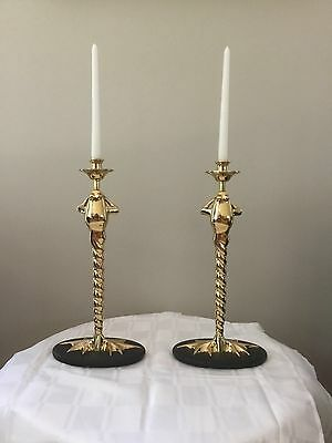 CHAPMAN Brass FROG Figural Candle Stick Lamp Pair