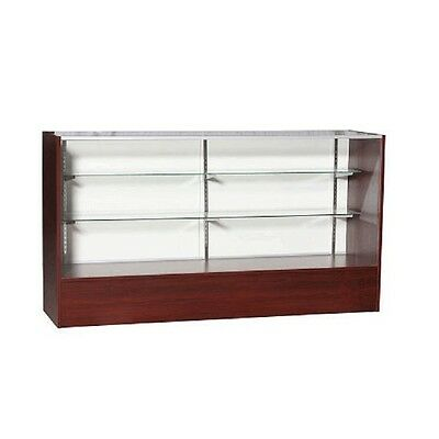 ITEM# SC6WAL 6' Full Vision Retail Glass Display Case In Walnut Will Ship