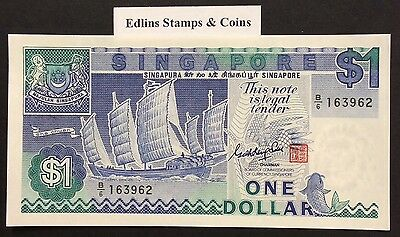 1987 $1 Singapore Banknote - Uncirculated - Pick 18A - B/6 163962