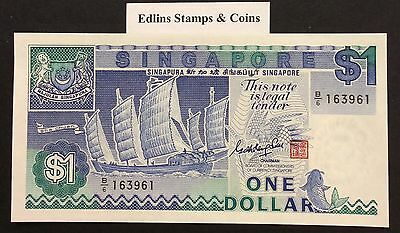1987 $1 Singapore Banknote - Uncirculated - Pick 18A - B/6 163961