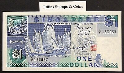 1987 $1 Singapore Banknote - Uncirculated - Pick 18A - B/6 163957