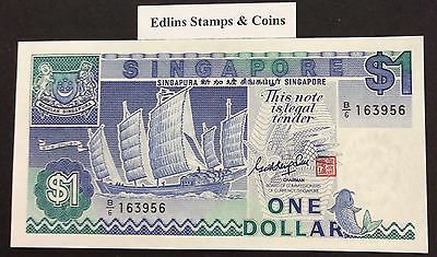 1987 $1 Singapore Banknote - Uncirculated - Pick 18A - B/6 163956