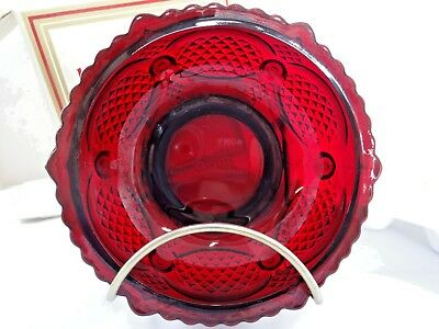 MINT NIB Avon Cape Cod 1876 Ruby Red Cranberry Glass Dessert Bowl Soap Dish