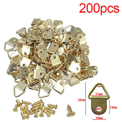 100X Picture Frame Triangle D Rings Hooks + Screws Plated Wall Hangers Canvas