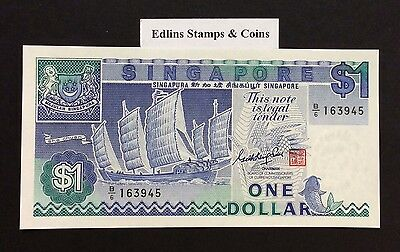 1987 $1 Singapore Banknote - Uncirculated - Pick 18A - B/6 163945