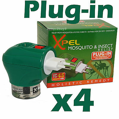 4 x Travel Insect Mosquito Repellent Plug-in Liquid Lasts 45 Nights Xpel Euro