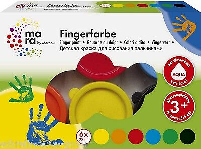 Fingerfarbe Fingermalfarbe Mara by Marabu 6 x 35 ml  6 Farben (2,04€/100ml)