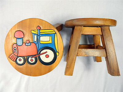 Childs Childrens Wooden Stool - Train