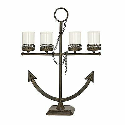 Benzara Alluring Metal Glass Candle Holder 91931 New