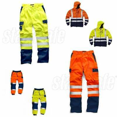 HI VIS VIZ SAFETY TWO TONE WORK WEAR | Joggers Hoodie Polo Polycotton Trousers
