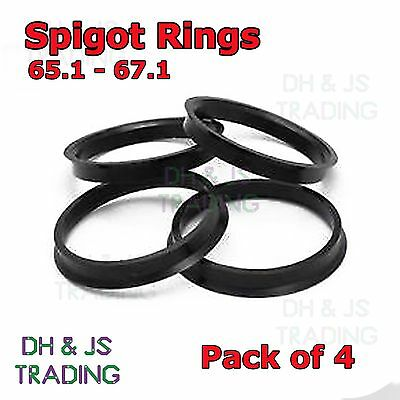 4x Spigot Rings 65.1 - 67.1 Wheel Hub Center Ring Vauxhall 5 Stud Peugeot 106 x4
