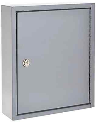 Secure Key Cabinet 60 Keys Gray Wall Hook Storage Box Organizer Home Lock