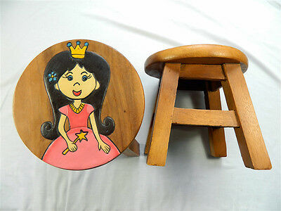 Childs Childrens Wooden Stool Chair - Fairy Princess Step Stool